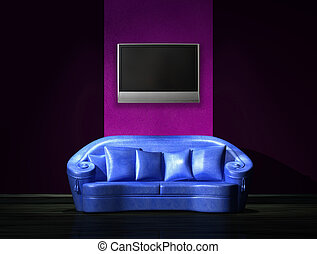 sofà blu, con, lcd, tv, su, parete, in, minimalista, interno