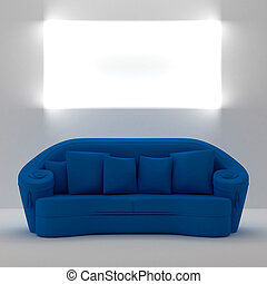 sofà blu, con, posto, su, parete, per, yours, testo