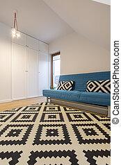 sofà blu, stanza