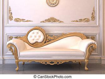 sofà cuoio, cornice, reale, lussuoso, interno