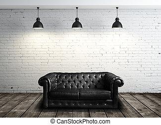 sofà cuoio, in, stanza