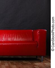 sofà cuoio, nero rosso