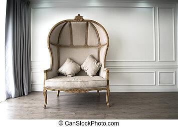 sofà marrone, sguardo, luxurioius