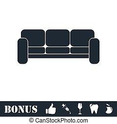 sofá, ícone, apartamento