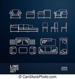 sofá, ícone