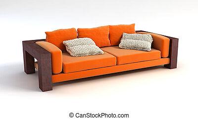 sofá, 3d, interpretación