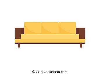 sofá, apartamento, ícone, estilo, modernos