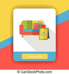 sofá, apartamento, ícone