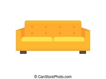 sofá, apartamento, macio, amarela, ícone, estilo