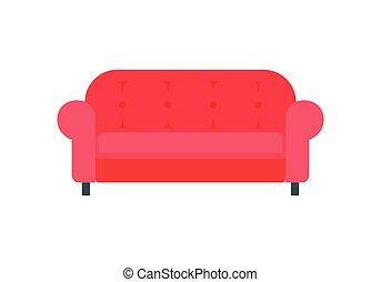 sofá, apartamento, vermelho, ícone, estilo