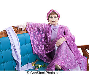 sofá, assento mulher