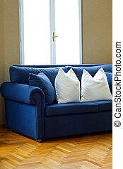 sofá azul, ángulo, 2