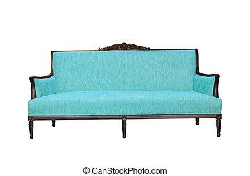 sofá azul, aislado, blanco, plano de fondo