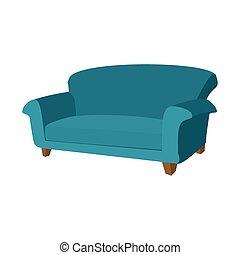 sofá azul, caricatura, ícone