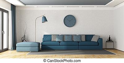 sofá azul, em, um, branca, lounge