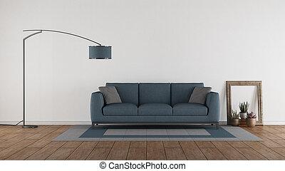 sofá azul, em, um, minimalista, sala de estar