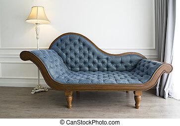 sofá azul, olhar, luxuoso