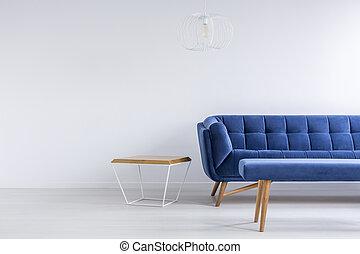 sofá azul, sala, banco
