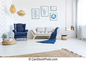 sofá blanco, interior, hogar