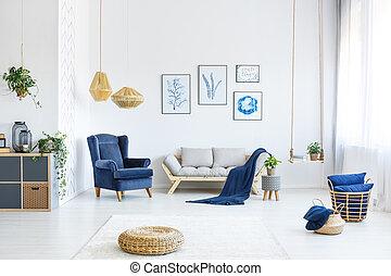 sofá, branca, madeira, sala