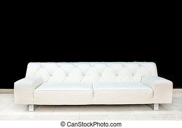 sofá branco, couro