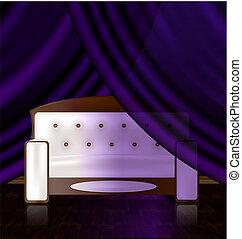 sofá branco, em, a, violeta, sala