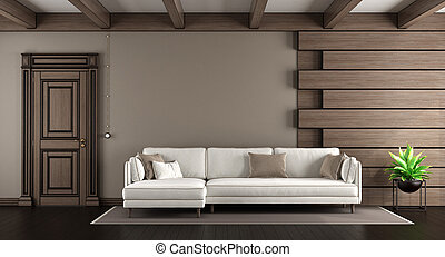 sofá branco, em, um, elegante, sala de estar