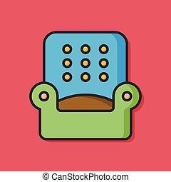 sofá, cadeira, apartamento, ícone