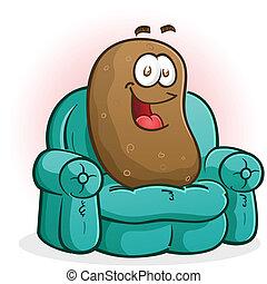 sofá, carácter, caricatura, papa
