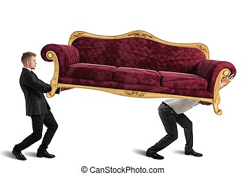 sofá, carregar, homens