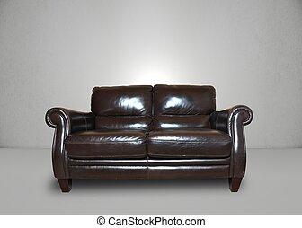 sofá, cinzento, sala