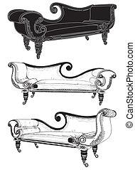sofá, clássicas