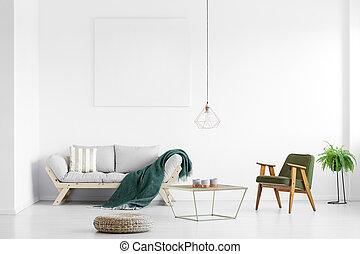 sofá, cobertor, verde