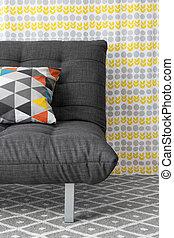 sofá, colorido, cojín