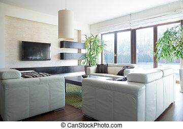 sofá, confortável, sala, sentando