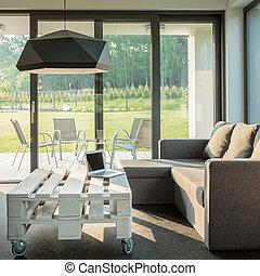 sofá, confortável, tabela, elegante
