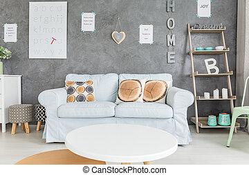 sofá, confortável, tabela redonda