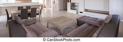 sofá, confortável, velour