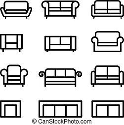 sofá, conjunto, icono