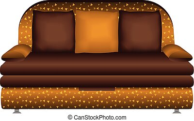 sofá couro, ícone, estilo, caricatura