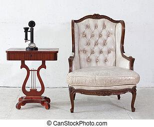 sofá couro, antiga, telefone