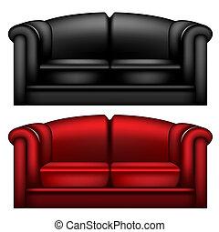 sofá couro, escuro, preto vermelho