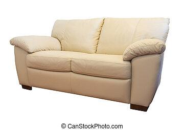 sofá couro, isolado, fundo, mobília
