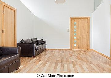 sofá couro, luminoso, sala
