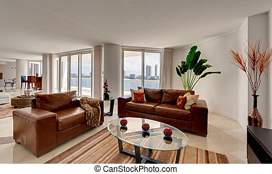 sofá de cuero, apartamento, moderno
