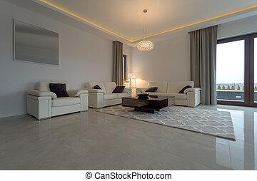 sofá de cuero, crema, sillón