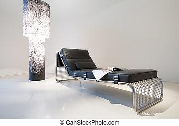 sofá de cuero, lámpara, diseñado, costoso