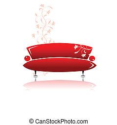 sofá, desenho, vermelho