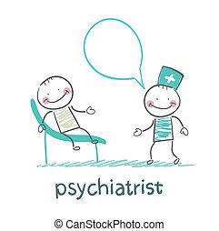sofá, dice, paciente, acostado, psiquiatra