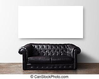 sofá, e, cartaz